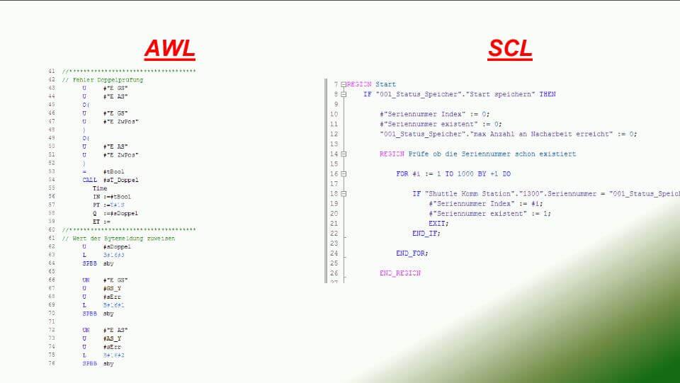 Unterschied AWL und SCL